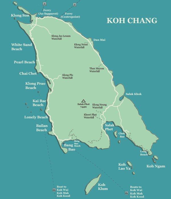 koh-chang-map-koh-chang-beaches - Пляжи острова Ко Чанг - краткий путеводитель.