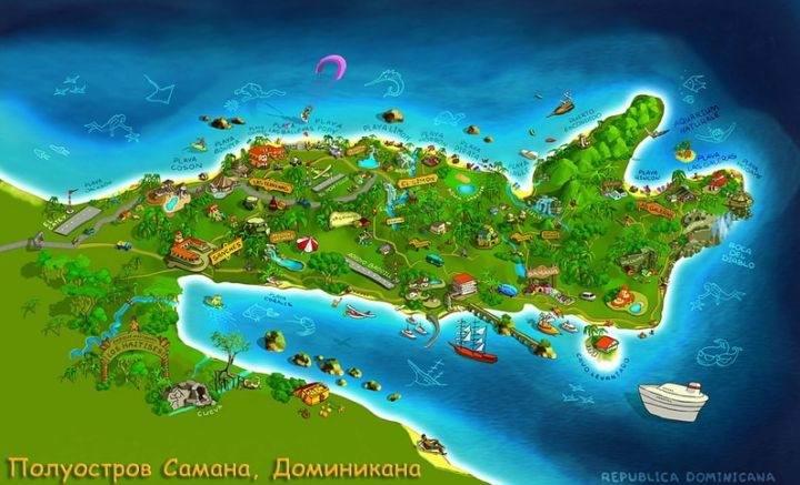 samana map карта - Полуостров Самана - пляжи, экскурсии и лучшие места