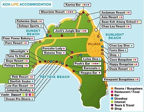 Karta_ostrova_Ko_Lipe - Остров Ко Липе - отдых для ценителей первозданной природы и спокойного отдыха